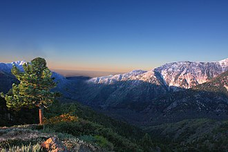 San Gabriel Wilderness - Looking into the San Gabriel Wilderness with the San Gabriel Valley in the distance
