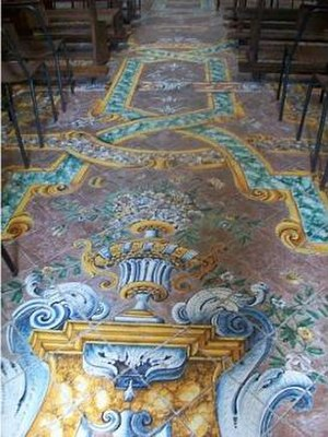San Giovanni Battista, Praiano - The interior features a maiolica tiled floor.
