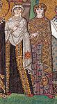San vitale, ravenna, int., presbiterio, mosaici di teodora e la sua corte 06.JPG