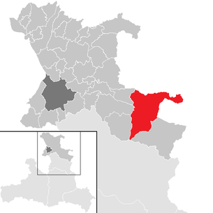 Location of the municipality of Sankt Gilgen in the district of St. Johann im Pongau (clickable map)