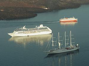 Santorini cruise ships in caldera