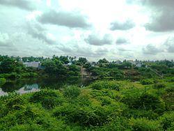 Athani as seen from Savandapur with Bhavani River separating the regions