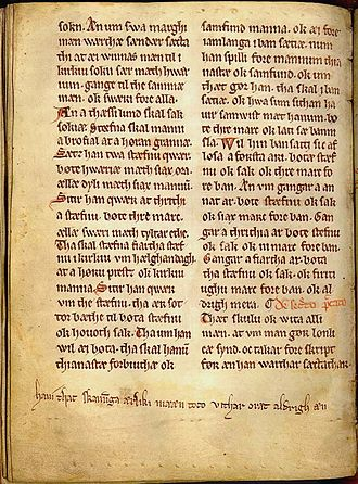 "Skåneland - Anders Sunesøn's 13th-century version of the Scanian Law and Church Law, containing a comment in the margin called the ""Skaaningestrof"" (the Scanian stanza): ""Hauí that skanunga ærliki mææn toco vithar oræt aldrigh æn."" (Let it be known that Scanians are honorable men who have never tolerated injustice.)"