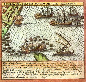 First Dutch Expedition to Nusantara - Beschieting op de stad Bantam en aanval van de prauwen.