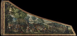 A painting on a harpsichord lid with a party by a river