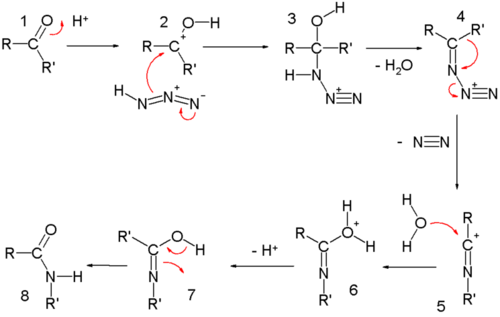 Schmidt reaction mechanism amide formation