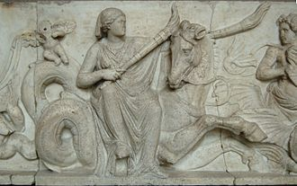 Doris (mythology) - Doris riding a hippocamp and carrying two torches to light the wedding cortege of Poseidon and Amphitrite, base of a sculpted group, end 2nd century BC, Munich Glyptothek museum (Inv. 239).