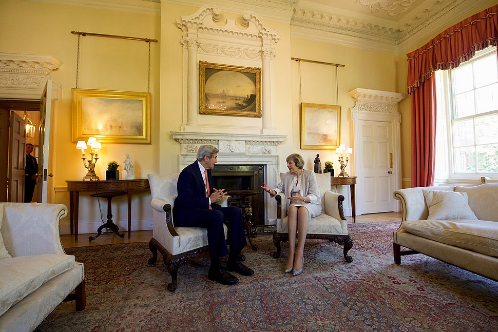 Secretary Kerry Sits With British Prime Minister May in the White Room No. 10 Downing Street in London (28305052402)