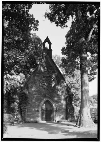File:September 1969 WEST (FRONT) ELEVATION - Oak Hill Cemetery, Chapel, 3001 R Street Northwest, Northeast of gatehouse, Washington, District of Columbia, DC HABS DC,GEO,41B-2.tif