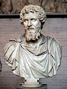 Bust of Septimius Severus (reign 193–211 CE). White, fine-grained marble, modern restorations (nose, parts of the beard, draped bust)