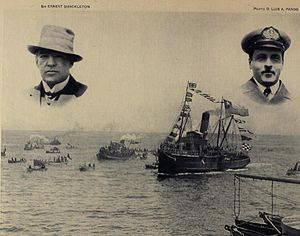 "Yelcho (1906) - ""Yelcho"", at the left is Ernest Shackleton and Luis Pardo Villalón at the right"