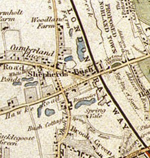 History of Shepherd's Bush - Shepherd's Bush, from an 1841 London map by Davies.