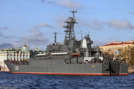 Russian Project 775 landing ship Korolev. Note the Russian naval jack at the front and naval ensign at the rear.