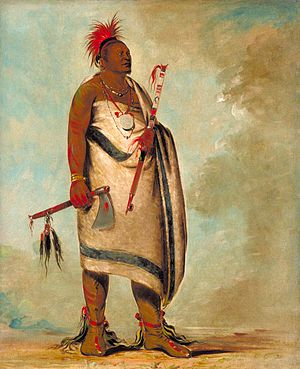 Osage Nation - Shonka Sabe (Black Dog). Chief of the Hunkah division of the Osage tribe. Painted in 1834 by George Catlin