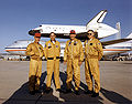 Shuttle Carrier Aircraft crew in front of SCA and Columbia.jpg