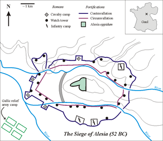 Battle of Alesia - The Fortifications built by Caesar in Alesia according to the hypothesis of the location in Alise-Sainte-Reine  Inset: cross shows location of Alesia in Gaul (modern France). The circle shows the weakness in the north-western section of the contravallation line