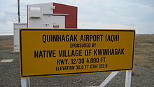 Sign at Quinhagak, Alaska airport (May 2011).jpg