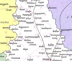 Location of मिर्जवास  in सीकर जिला