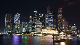 Singapore Skyline at Night with Black Sky