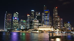 Raffles Place - Image: Singapore Skyline at Night with Black Sky
