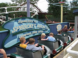 Children riding Spacely's Sprocket Rockets Six Flags Great America 027.jpg