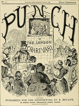 Slapstick - Advertisement for Punch and Judy showing Punch with his slapstick (1910)