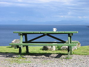 Picnic table – View from Flodigarry, Isle of S...