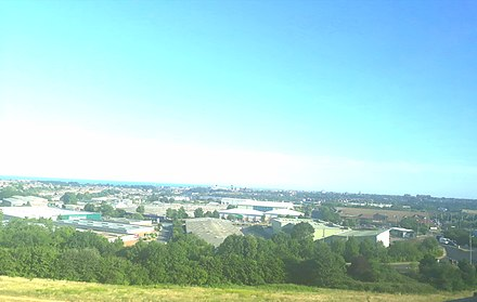 Skyline of Folkestone as seen from the M20 motorway. Skyline of Folkestone, Kent.jpg
