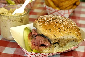 Kaiser roll - a 'beef on weck' sandwich.