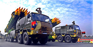 Ten-wheel drive - Indian Army 10x10 Tatra trucks mounting BM-30 Smerch Soviet heavy multiple rocket launcher.
