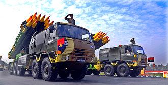 Ten-wheel drive - Indian Army 10x10 Tatra trucks mounting BM-30 Smerch Soviet heavy multiple rocket launcher.