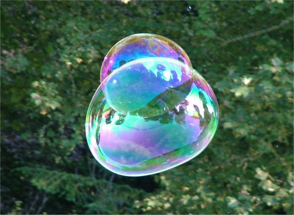 Soap Bubble - foliage background - iridescent colours - Traquair 040801