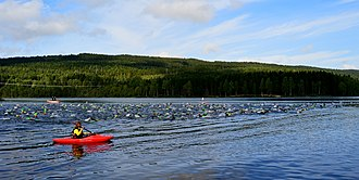 Sognsvann - Every August, swimming and running takes part at Songsvann Lake as part of a Triathlon consisting of cycling, running and swimming