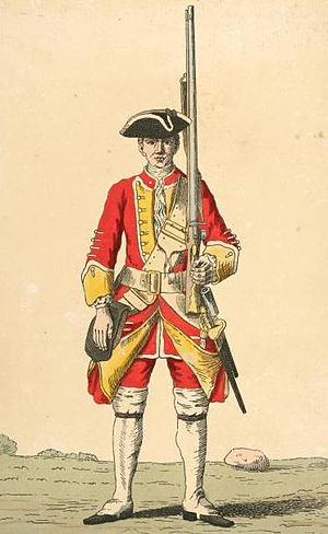 Bedfordshire and Hertfordshire Regiment - Image: Soldier of 16th regiment 1742