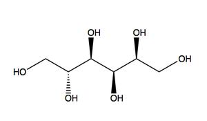 Schéma molekuly sorbitolu