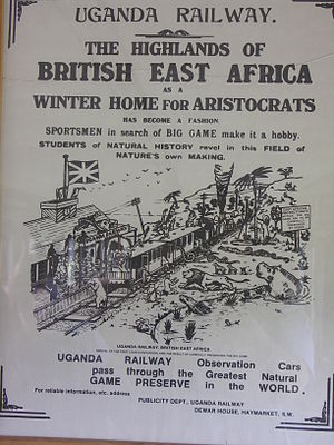 Uganda Railway - Reproduction poster of an advertisement for the railway.  Note chopper coupling.