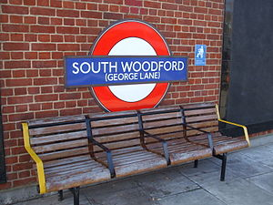 South Woodford tube station - Roundel on the eastbound platform, showing the old suffix.
