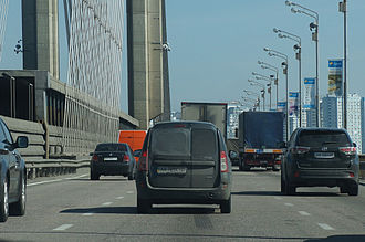 Pivdennyi Bridge (Kiev) - Traffic on Southern Bridge in Kyiv