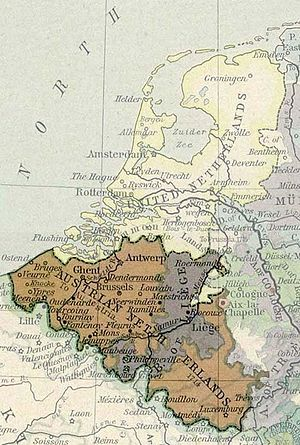 Terminology of the Low Countries - The Low Countries in 1786 with the Austrian Netherlands highlighted