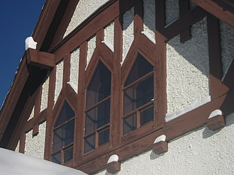 St. Mary & St. George Anglican Church - Southwest facade partitioned by exposed wooden trim