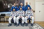 Soyuz MS-12 crew with backup crew at the Baikonur Cosmodrome.jpg