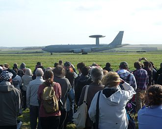 Leuchars Station - Spectators watch an E-3D Sentry at the Leuchars Airshow of 2012