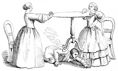 Sketch showing two mediums holding a table in the air by pressing against it from opposite sides; a spectator is looking in vain underneath for something raising it.