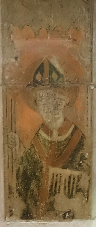Saint Blaise - 14th Century wall painting of St Blaise in All Saints Church in Kingston upon Thames, UK