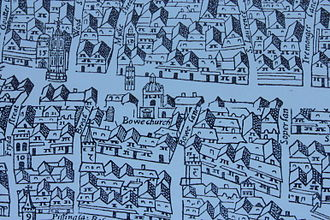 "St Mary-le-Bow - St Mary-le-Bow Church as shown on the ""woodcut"" map of the early 1560s (shown as ""Bowe church"")"