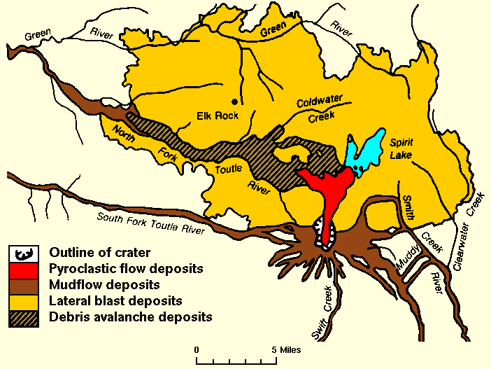 St helens map showing 1980 eruption deposits