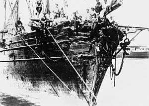 Torrens (clipper ship) - The Torrens, showing damage after hitting an iceberg