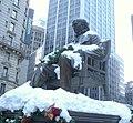 Statue Greeley Sq snow crop jeh.jpg