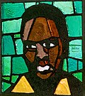 Stained glass window depicting Steve Biko
