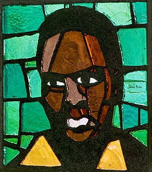 Biko (song) - Steve Biko on a Heerlen church stained glass window